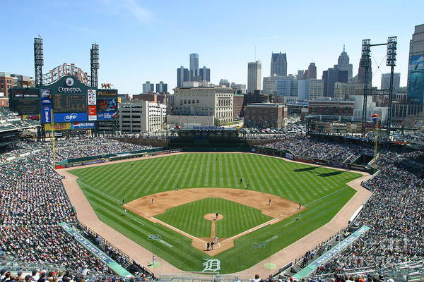 American League Baseball Art Print featuring the photograph Cleveland Indians V Detroit Tigers by John Grieshop