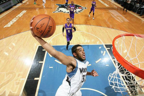 Nba Pro Basketball Art Print featuring the photograph Los Angeles Lakers V Minnesota by David Sherman