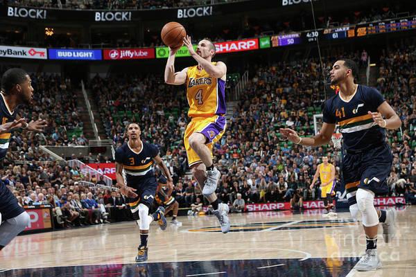Nba Pro Basketball Art Print featuring the photograph Los Angeles Lakers V Utah Jazz by Melissa Majchrzak
