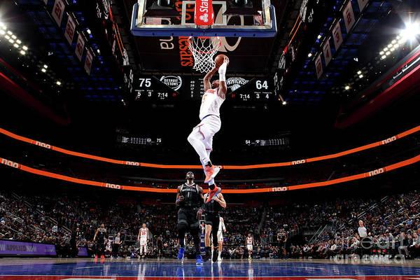 Nba Pro Basketball Art Print featuring the photograph New York Knicks V Detroit Pistons by Brian Sevald