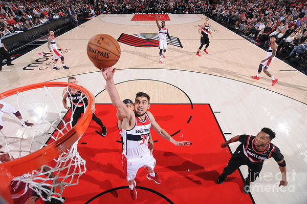 Nba Pro Basketball Art Print featuring the photograph Washington Wizards V Portland Trail by Sam Forencich