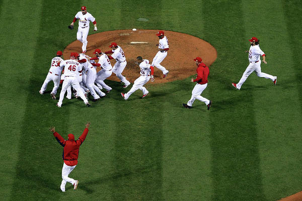 St. Louis Cardinals Art Print featuring the photograph 2011 World Series Game 7 - Texas by Doug Pensinger