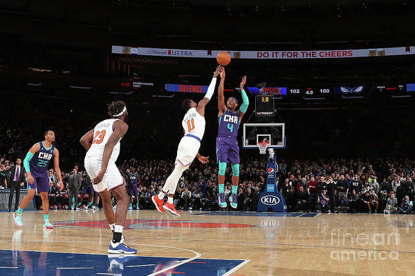 Nba Pro Basketball Art Print featuring the photograph Charlotte Hornets V New York Knicks by Nathaniel S. Butler