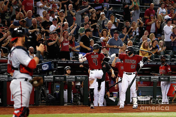 People Art Print featuring the photograph Washington Nationals V Arizona by Christian Petersen