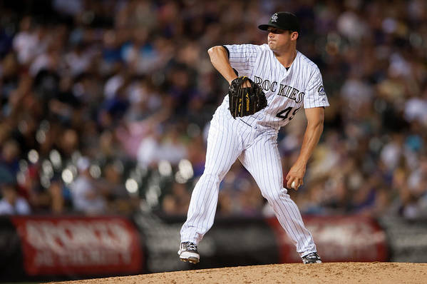 Baseball Pitcher Art Print featuring the photograph Arizona Diamondbacks V Colorado Rockies by Dustin Bradford