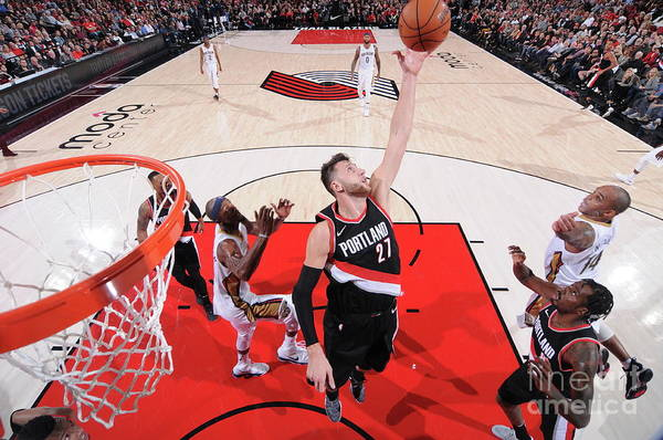 Jusuf Nurkić Art Print featuring the photograph New Orleans Pelicans V Portland Trail by Sam Forencich