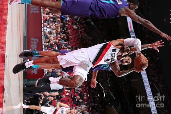 Nba Pro Basketball Art Print featuring the photograph Charlotte Hornets V Portland Trail by Sam Forencich