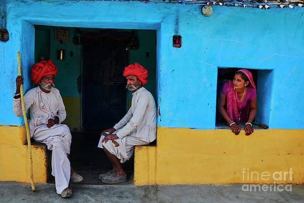 Walking Cane Art Print featuring the photograph India, Rajasthan, Rabari Village by Tuul & Bruno Morandi