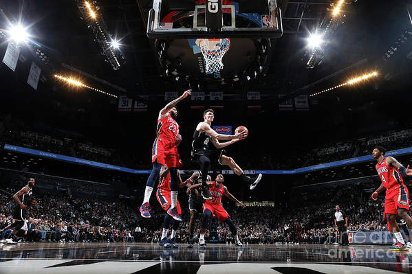 Nba Pro Basketball Art Print featuring the photograph New Orleans Pelicans V Brooklyn Nets by Nathaniel S. Butler