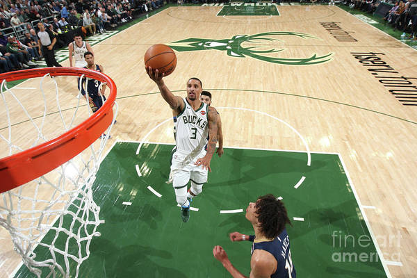 Nba Pro Basketball Art Print featuring the photograph New Orleans Pelicans V Milwaukee Bucks by Gary Dineen