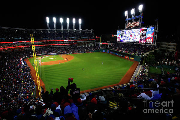 Game Two Art Print featuring the photograph World Series - Chicago Cubs V Cleveland by Jamie Squire
