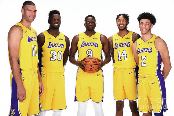 Media Day Art Print featuring the photograph 2017-18 Los Angeles Lakers Media Day by Andrew D. Bernstein
