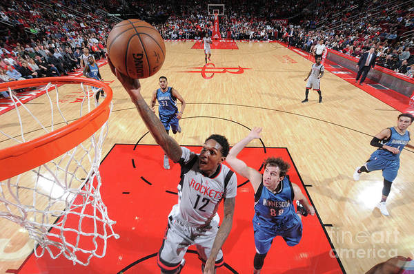 Nba Pro Basketball Art Print featuring the photograph Minnesota Timberwolves V Houston Rockets by Bill Baptist