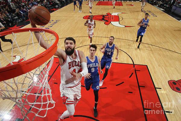 Nba Pro Basketball Art Print featuring the photograph Philadelphia 76ers V Chicago Bulls by Gary Dineen