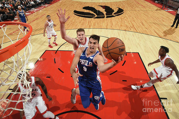 Nba Pro Basketball Art Print featuring the photograph Philadelphia 76ers V Toronto Raptors by Ron Turenne