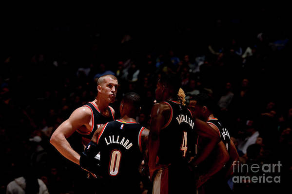 Nba Pro Basketball Art Print featuring the photograph Portland Trail Blazers V Denver Nuggets by Bart Young