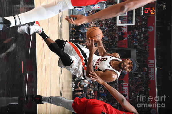 Moe Harkless Art Print featuring the photograph Portland Trail Blazers V La Clippers by Andrew D. Bernstein