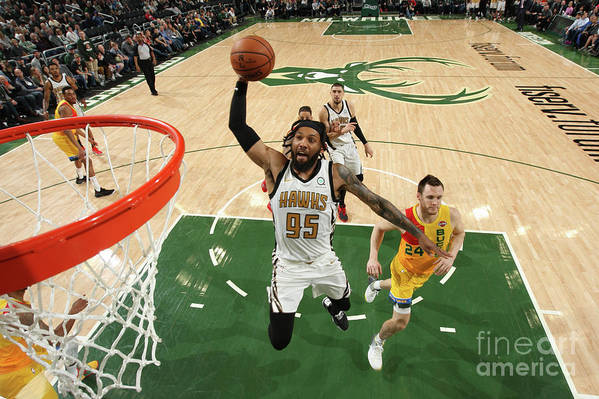 Nba Pro Basketball Art Print featuring the photograph Atlanta Hawks V Milwaukee Bucks by Gary Dineen