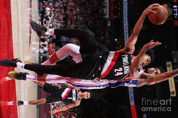 Nba Pro Basketball Art Print featuring the photograph Philadelphia 76ers V Portland Trail by Sam Forencich