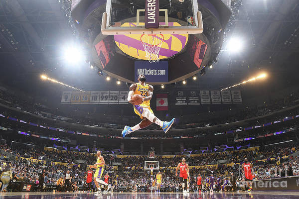 Nba Pro Basketball Art Print featuring the photograph Lebron James Double-Clutch Reverse Dunk Tribute to Kobe Bryant by Andrew D. Bernstein