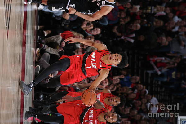 Nba Pro Basketball Art Print featuring the photograph Brooklyn Nets V Portland Trail Blazers by Sam Forencich