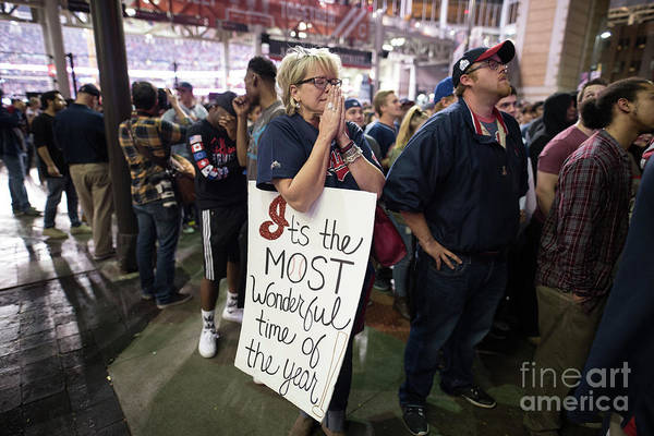 Facial Expression Art Print featuring the photograph Cleveland Indians Fans Gather To The by Justin Merriman