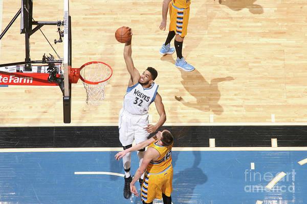 Nba Pro Basketball Art Print featuring the photograph Denver Nuggets V Minnesota Timberwolves by David Sherman