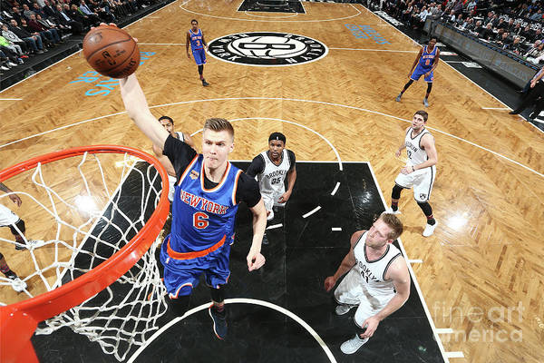 Nba Pro Basketball Art Print featuring the photograph New York Knicks V Brooklyn Nets by Nathaniel S. Butler
