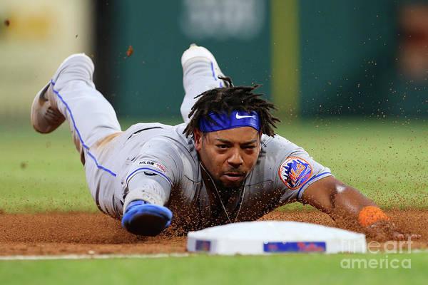 Baseball Catcher Art Print featuring the photograph New York Mets V Philadelphia Phillies by Rich Schultz