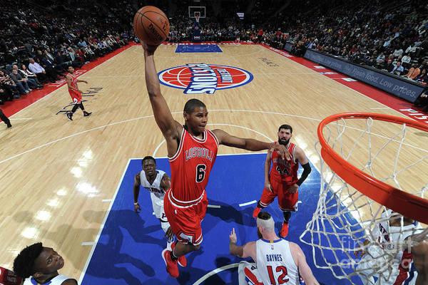 Nba Pro Basketball Art Print featuring the photograph Chicago Bulls V Detroit Pistons by Chris Schwegler