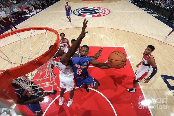 Nba Pro Basketball Art Print featuring the photograph New York Knicks V Washington Wizards by Ned Dishman