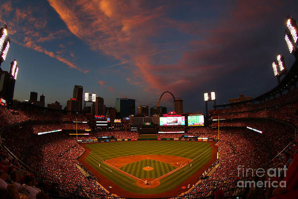 American League Baseball Art Print featuring the photograph Atlanta Braves V St Louis Cardinals by Dilip Vishwanat