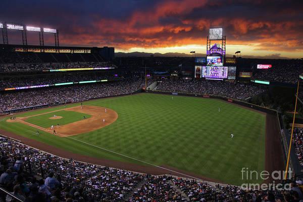 National League Baseball Art Print featuring the photograph Atlanta Braves V Colorado Rockies by Doug Pensinger