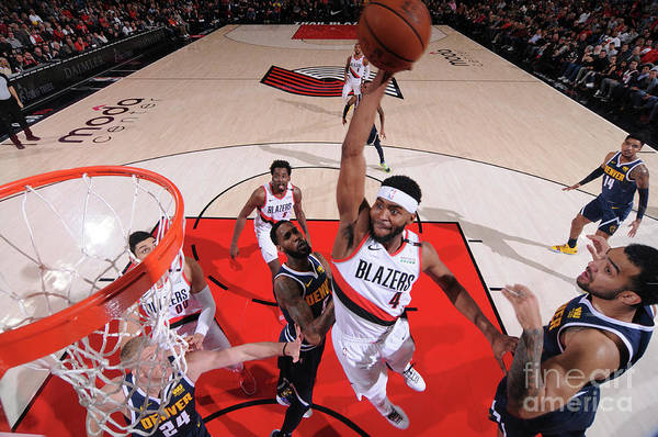 Moe Harkless Art Print featuring the photograph Denver Nuggets V Portland Trail Blazers by Sam Forencich