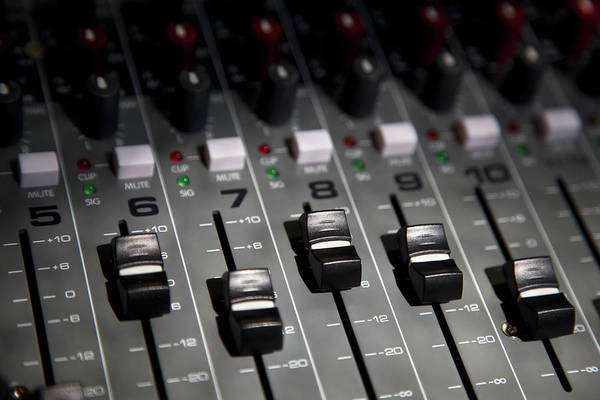 Shadow Art Print featuring the photograph A Sound Mixing Board, Close-up, Full by Tobias Titz