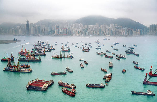 Trading Art Print featuring the photograph A View Of Hong Kong Harbor Through A by Xpacifica