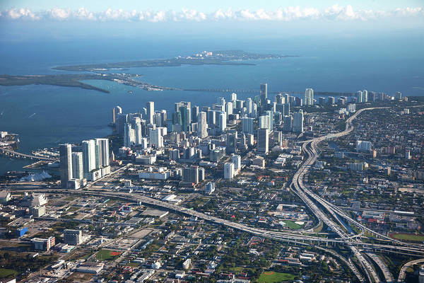 Outdoors Art Print featuring the photograph Aerial View Of Miami by Buena Vista Images