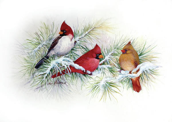 Birds Art Print featuring the painting Albino Visitor by Lois Mountz