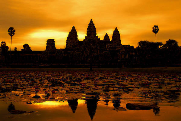 Cambodian Culture Art Print featuring the photograph Angkor Wat At Sunrise by David Lazar