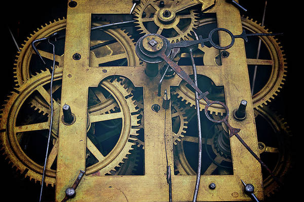 Gear Art Print featuring the photograph Antique Clock Gears, Cog And Parts by Melissa Ross