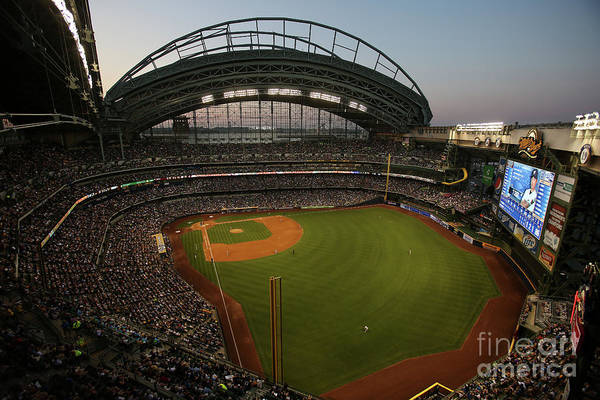 American League Baseball Art Print featuring the photograph Arizona Diamondbacks Vs. Milwaukee by Mlb Photos