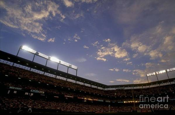 American League Baseball Art Print featuring the photograph Athletics V Orioles by Doug Pensinger