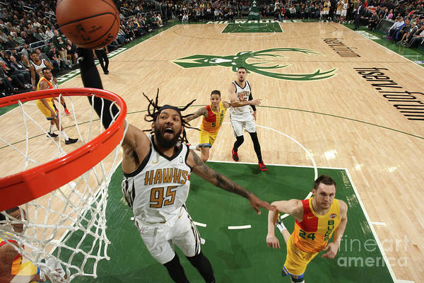 Nba Pro Basketball Art Print featuring the photograph Atlanta Hawks V Milwaukee Bucks by Gary Dineen