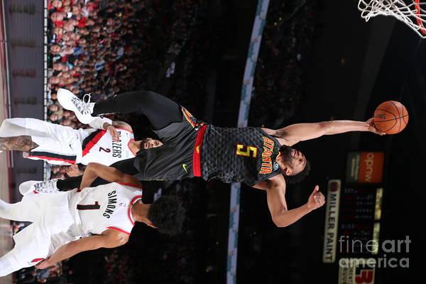 Nba Pro Basketball Art Print featuring the photograph Atlanta Hawks V Portland Trail Blazers by Sam Forencich
