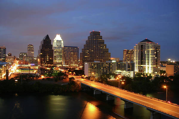 Water's Edge Art Print featuring the photograph Austin Texas Skyline - Unique by Xjben