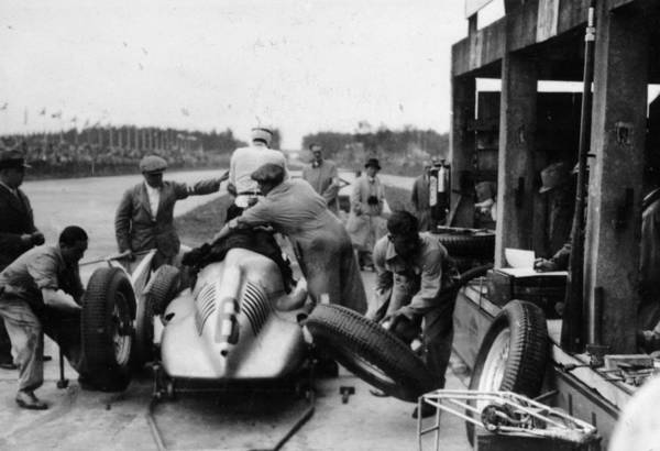 People Art Print featuring the photograph Auto Union In The Pits During A Grand by Heritage Images