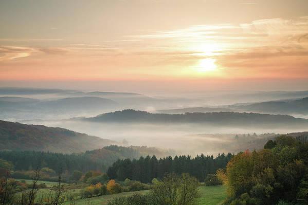 Scenics Art Print featuring the photograph Autumn Foggy Sunrise by Marcoschmidt.net