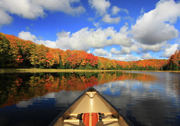 Scenics Art Print featuring the photograph Autumn In A Canoe by Photos By Michael Crowley