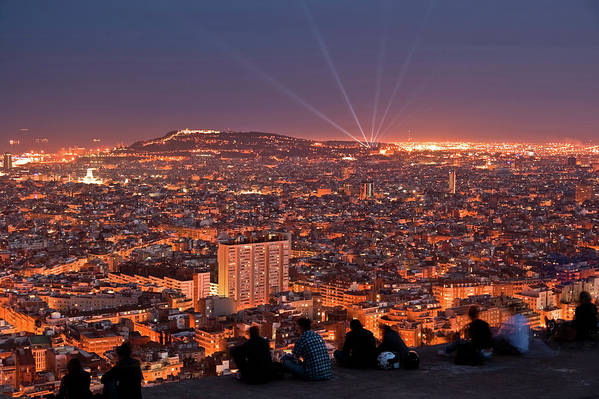 Catalonia Art Print featuring the photograph Barcelona At Night With People by Artur Debat