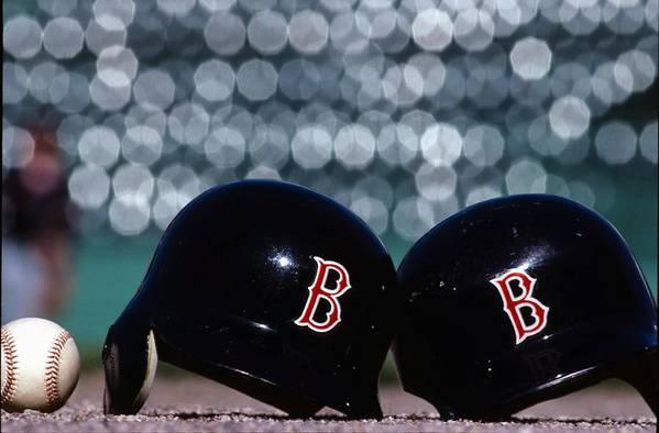 Headwear Art Print featuring the photograph Batting Helmets by Ronald C. Modra/sports Imagery